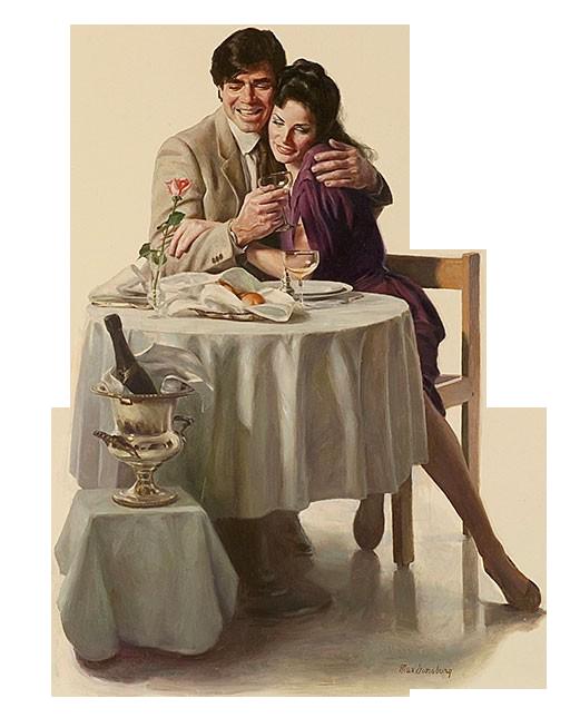 Картинки мужчина и женщина сидящие за столом